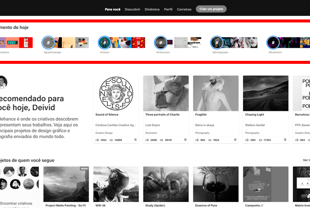novidade no behance stories